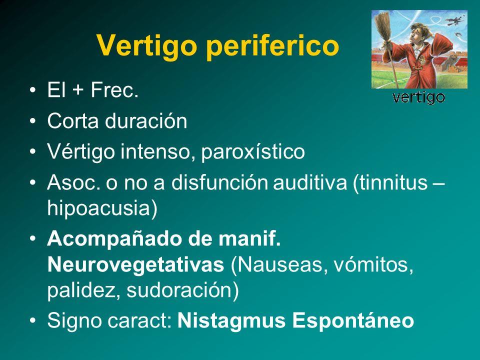 El + Frec. Corta duración Vértigo intenso, paroxístico Asoc. o no a disfunción auditiva (tinnitus – hipoacusia) Acompañado de manif. Neurovegetativas