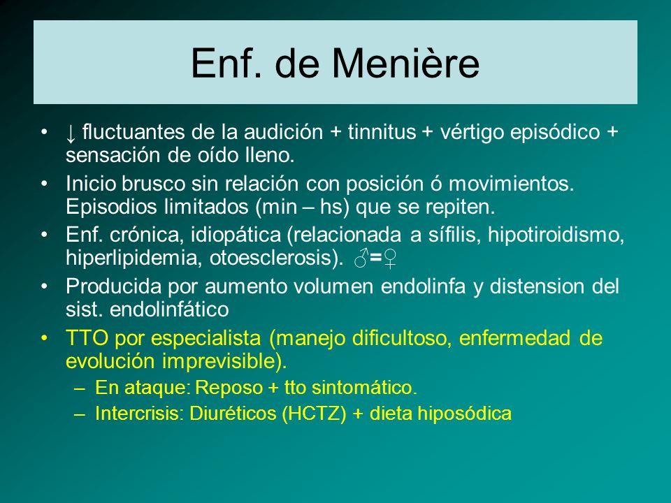 Enf. de Menière fluctuantes de la audición + tinnitus + vértigo episódico + sensación de oído lleno. Inicio brusco sin relación con posición ó movimie