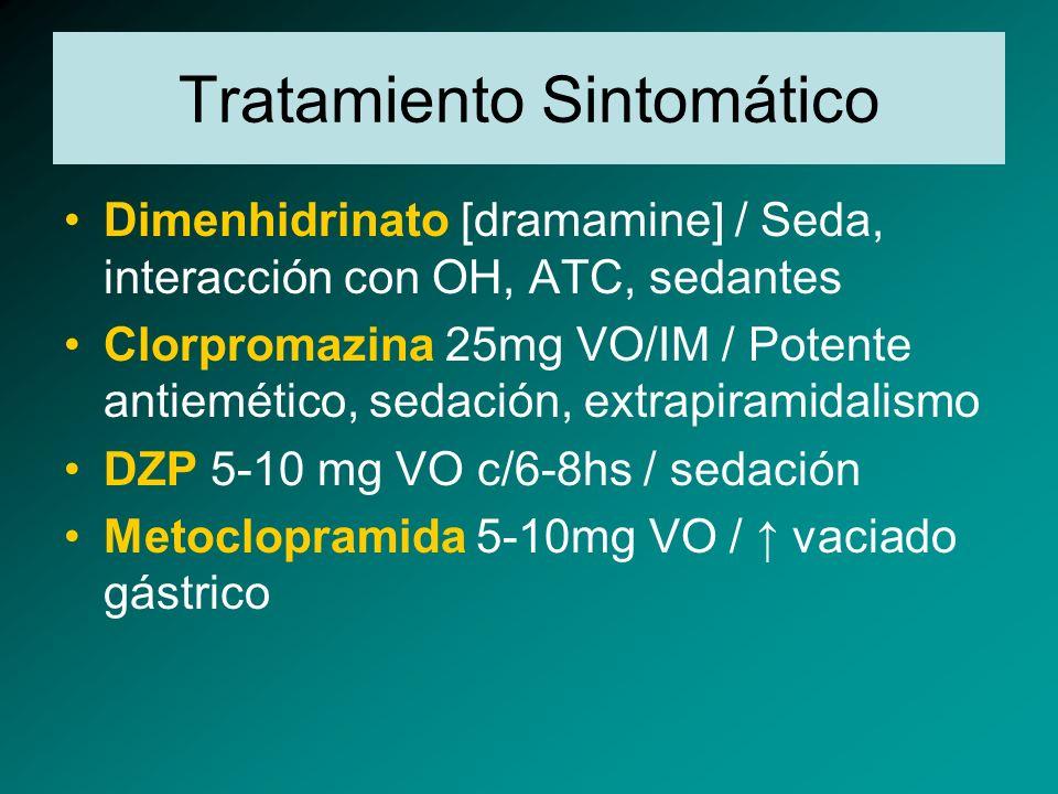 Tratamiento Sintomático Dimenhidrinato [dramamine] / Seda, interacción con OH, ATC, sedantes Clorpromazina 25mg VO/IM / Potente antiemético, sedación,