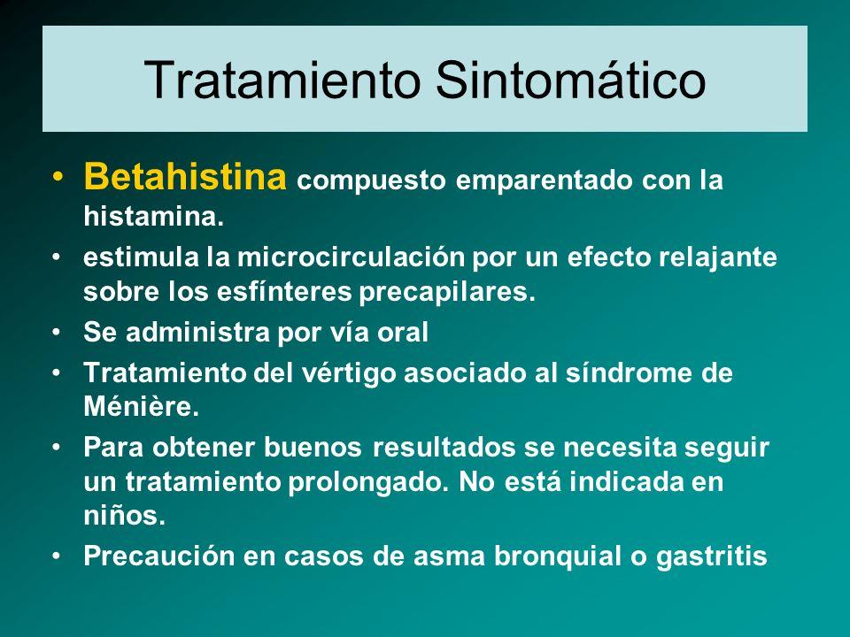 Tratamiento Sintomático Betahistina compuesto emparentado con la histamina. estimula la microcirculación por un efecto relajante sobre los esfínteres