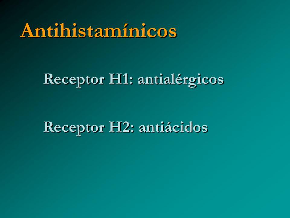 Antihistamínicos Receptor H1: antialérgicos Receptor H2: antiácidos