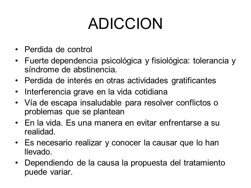 ABSTINENCIA: CUADRO CLÍNICO ABSTINENCIA/ SUSTANCIA SÍNTOMAS FISIOLÓGICOS SÍNTOMAS COGNITIVOS SÍNTOMAS CONDUCTUALES REGISTRO SUBJETIVO ALCOHOL +++ OPIÁCEOS +++ CANNABIS 0+++++ COCAÍNA IV ó FUMABLE ++ +++ COCAÍNA INH +++ ANFETAMINAS +++ EXTASY +++ SEDANTES/HIP +++ +++++ ALUCINÓGENOS 0++ 0 INHALANTES +++++++ NICOTINA ++ +++ 0 = AUSENTE + = LEVE ++ = MODERADO +++ = GRAVE Las nuevas investigaciones indican que el cannabis da síndrome de abstinencia, recién después de la primera semana, porque es una droga que tarda entre una semana y un mes en metabolizarse.