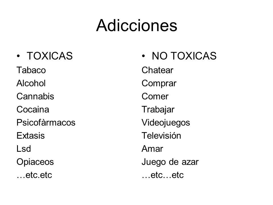 DIFERENCIAS ADICCIONES TOXICAS Siempre existe una sustancia que crea dependencia y tolerancia y que al dejar de consumirla produce síndrome de abstinencia.
