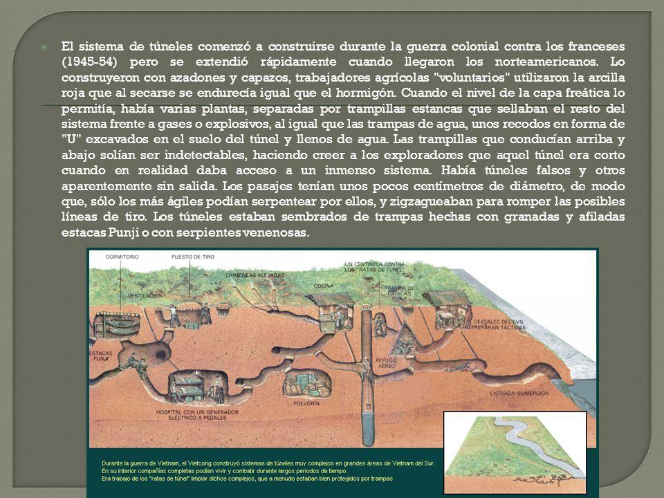 El sistema de túneles comenzó a construirse durante la guerra colonial contra los franceses (1945-54) pero se extendió rápidamente cuando llegaron los