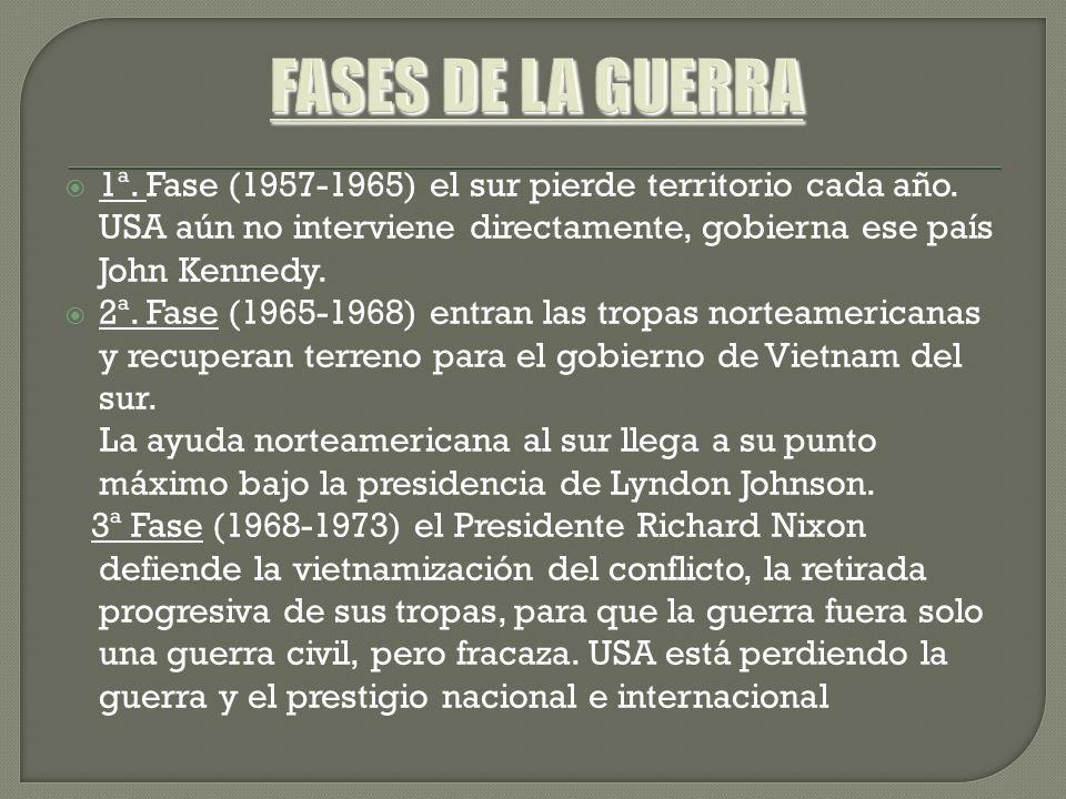 1ª. Fase (1957-1965) el sur pierde territorio cada año. USA aún no interviene directamente, gobierna ese país John Kennedy. 2ª. Fase (1965-1968) entra