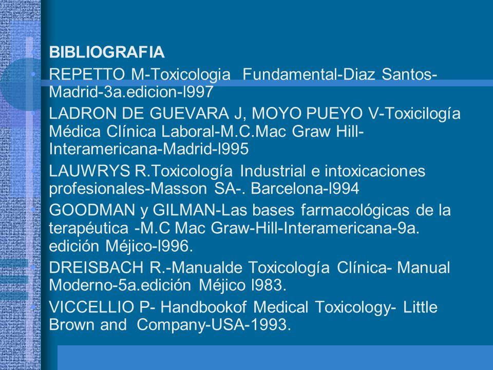 BIBLIOGRAFIA REPETTO M-Toxicologia Fundamental-Diaz Santos- Madrid-3a.edicion-l997 LADRON DE GUEVARA J, MOYO PUEYO V-Toxicilogía Médica Clínica Labora