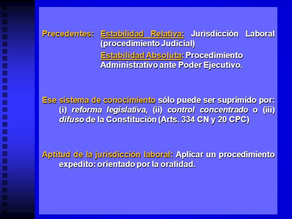 EVENTUAL PROCEDIMIENTO JURISDICCIONAL PARA RESOLVER LOS CONFLICTOS DE ESTABILIDAD ABSOLUTA (Inamovilidad) Abg. Pedro Casale V.