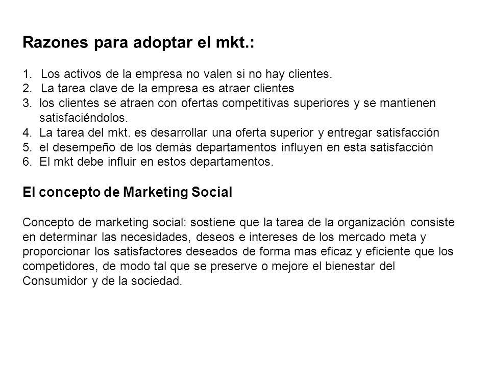 Razones para adoptar el mkt.: 1.Los activos de la empresa no valen si no hay clientes. 2.La tarea clave de la empresa es atraer clientes 3. los client