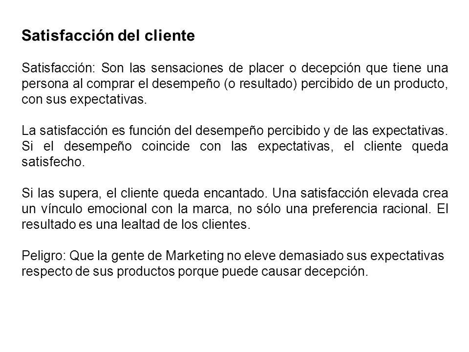 Satisfacción del cliente Satisfacción: Son las sensaciones de placer o decepción que tiene una persona al comprar el desempeño (o resultado) percibido