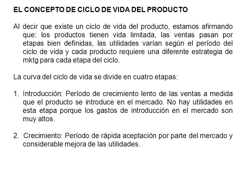 EL CONCEPTO DE CICLO DE VIDA DEL PRODUCTO Al decir que existe un ciclo de vida del producto, estamos afirmando que: los productos tienen vida limitada