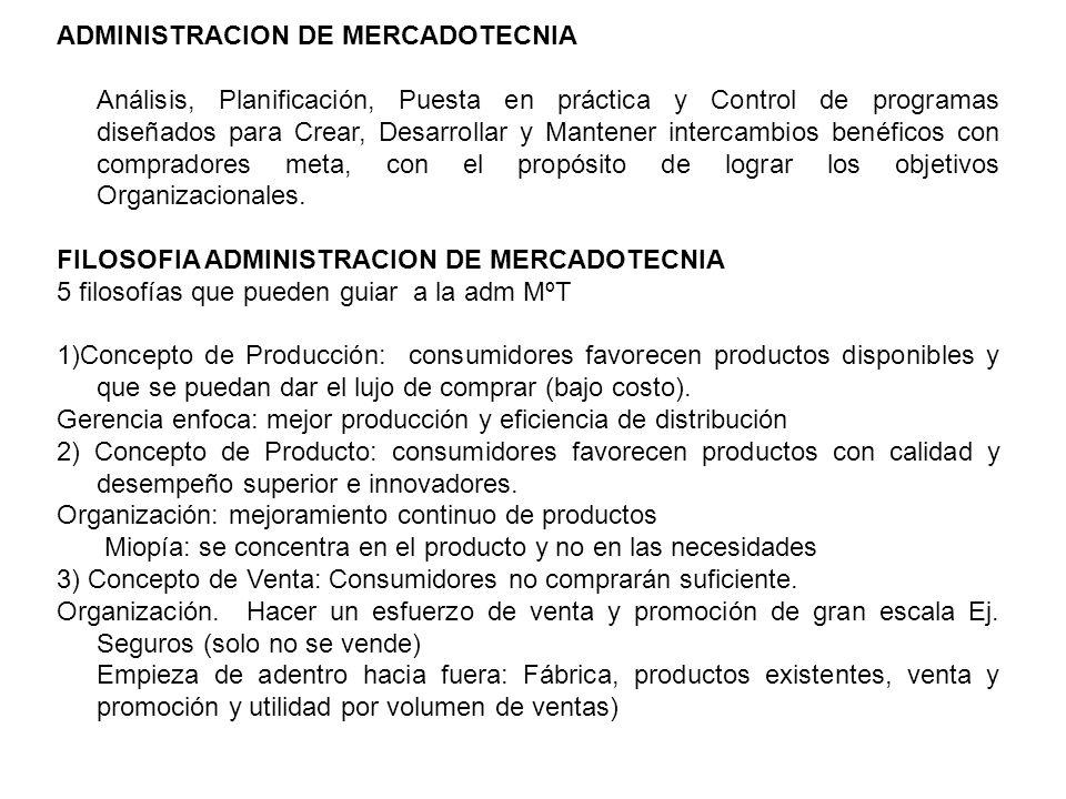 ADMINISTRACION DE MERCADOTECNIA Análisis, Planificación, Puesta en práctica y Control de programas diseñados para Crear, Desarrollar y Mantener interc