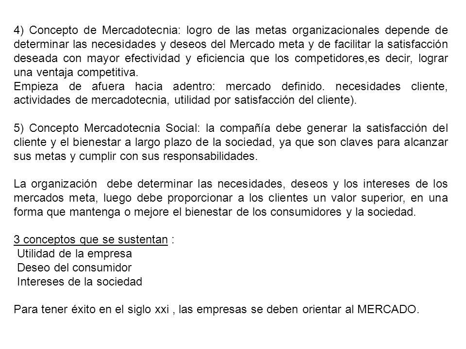 4) Concepto de Mercadotecnia: logro de las metas organizacionales depende de determinar las necesidades y deseos del Mercado meta y de facilitar la sa