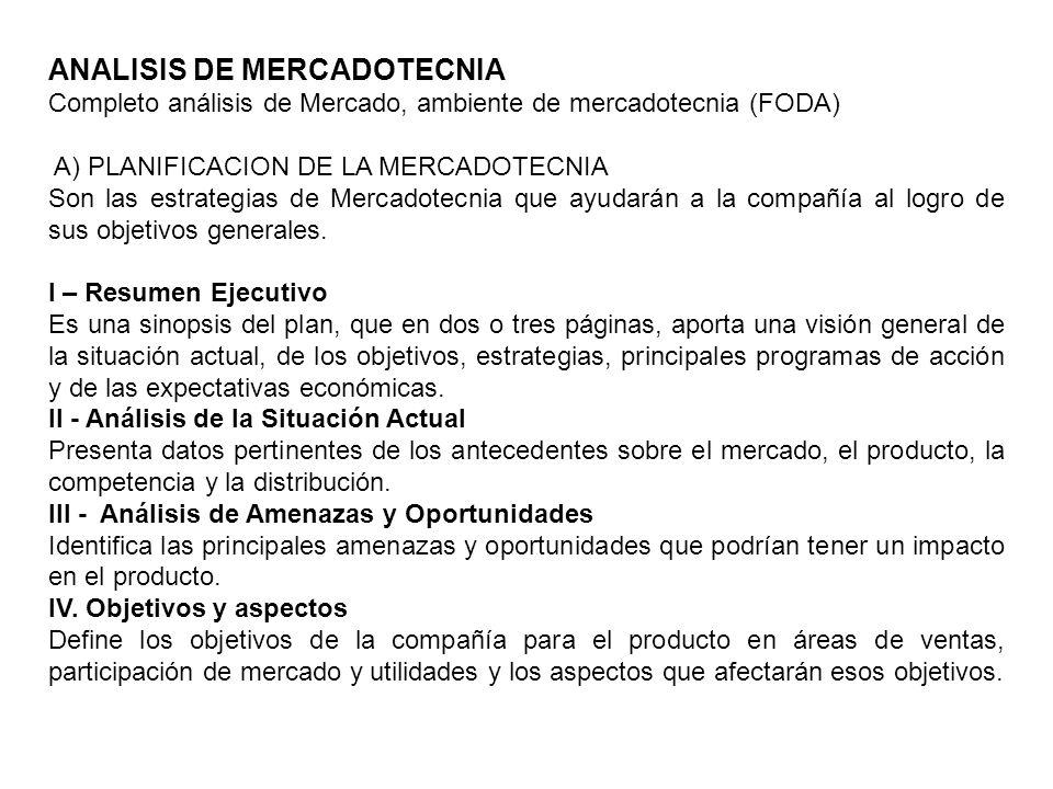 ANALISIS DE MERCADOTECNIA Completo análisis de Mercado, ambiente de mercadotecnia (FODA) A) PLANIFICACION DE LA MERCADOTECNIA Son las estrategias de M
