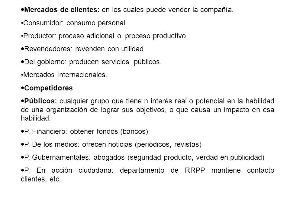 Mercados de clientes: en los cuales puede vender la compañía. Consumidor: consumo personal Productor: proceso adicional o proceso productivo. Revended