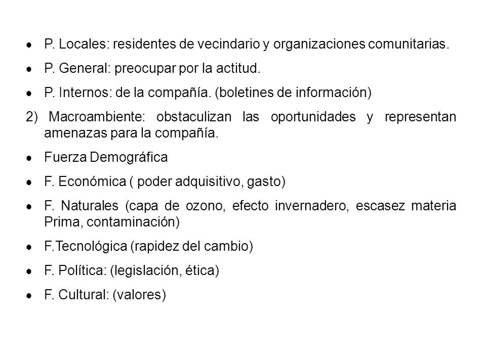 P. Locales: residentes de vecindario y organizaciones comunitarias. P. General: preocupar por la actitud. P. Internos: de la compañía. (boletines de i