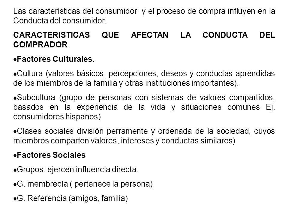 Las características del consumidor y el proceso de compra influyen en la Conducta del consumidor. CARACTERISTICAS QUE AFECTAN LA CONDUCTA DEL COMPRADO