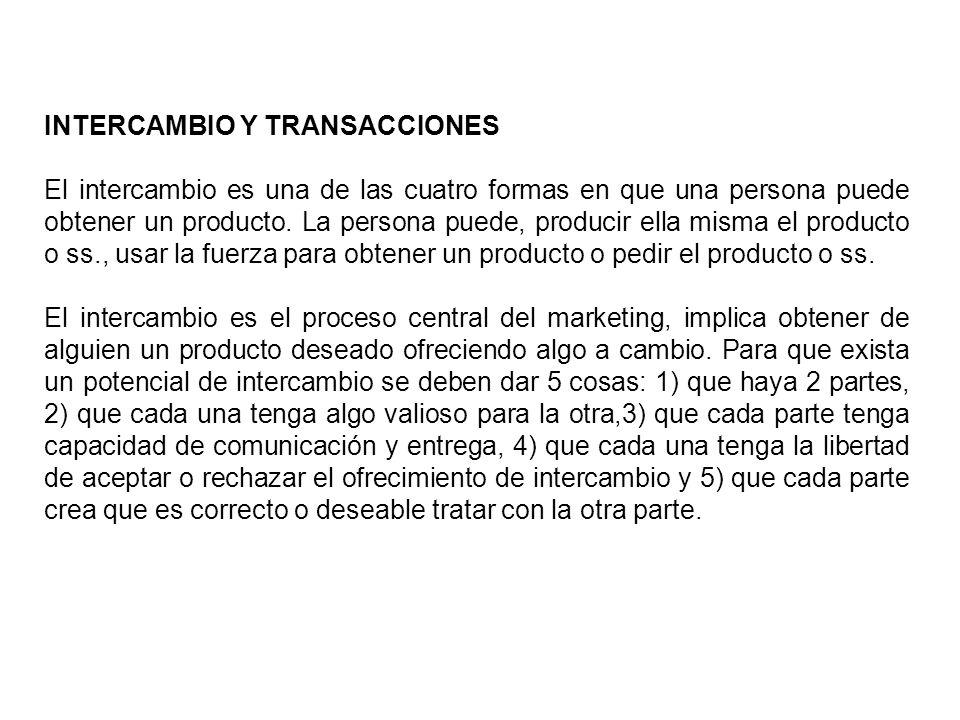 INTERCAMBIO Y TRANSACCIONES El intercambio es una de las cuatro formas en que una persona puede obtener un producto. La persona puede, producir ella m