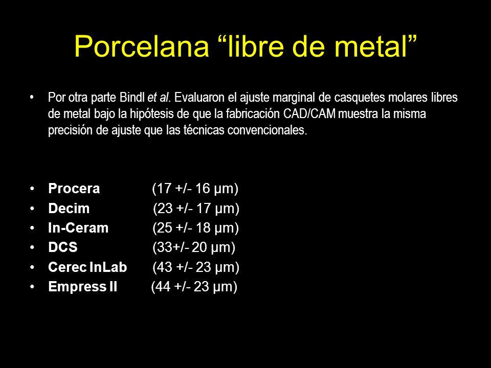 Porcelana libre de metal Por otra parte Bindl et al. Evaluaron el ajuste marginal de casquetes molares libres de metal bajo la hipótesis de que la fab