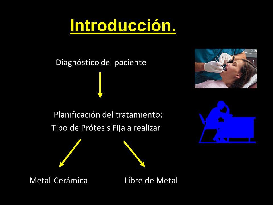 Introducción. Diagnóstico del paciente Planificación del tratamiento: Tipo de Prótesis Fija a realizar Metal-Cerámica Libre de Metal