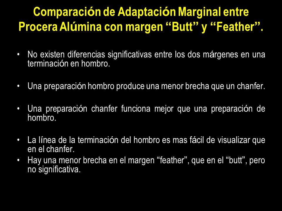 Comparaci ó n de Adaptaci ó n Marginal entre Procera Al ú mina con margen Butt y Feather. No existen diferencias significativas entre los dos m á rgen