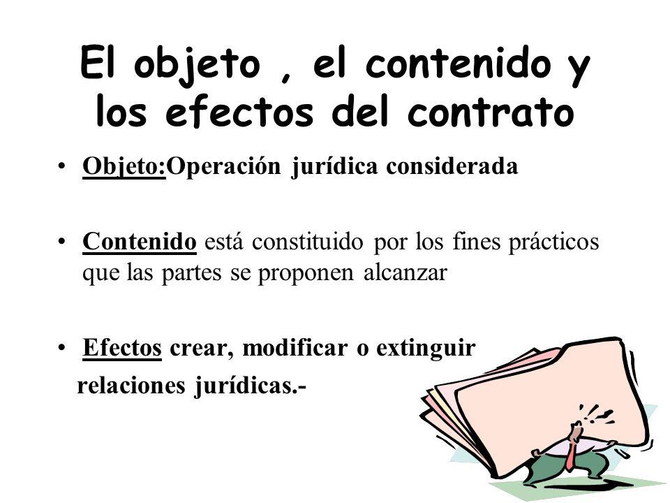 Objeto del contrato El objeto del contrato es la operación jurídica que las partes pretenden realizar. Esta operación jurídica se distingue de las pre