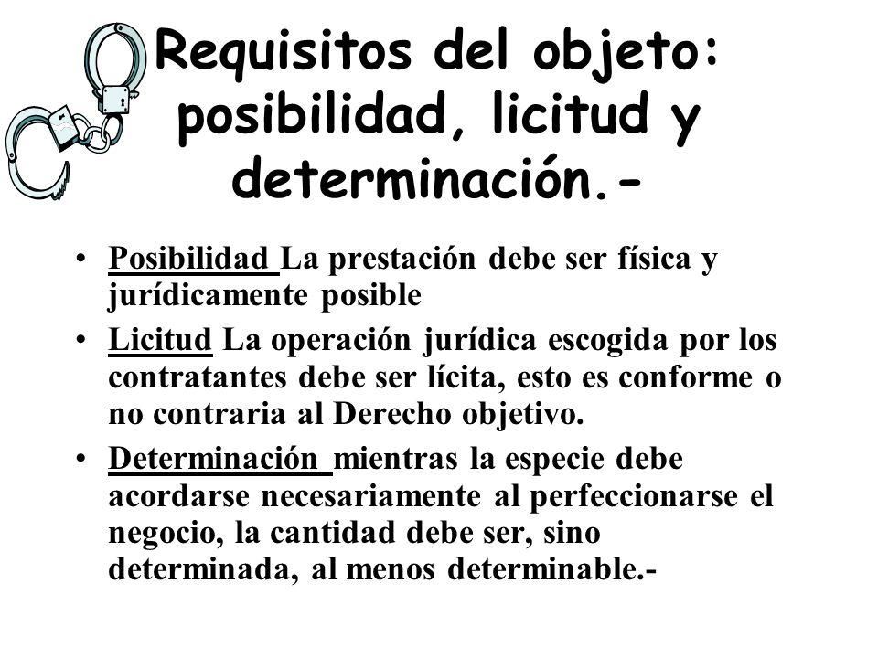 El art. 953 del C. Civil Bienes y hechos como objeto de los contratos El objeto de los actos jurídicos deben ser cosas que estén en el comercio, o que