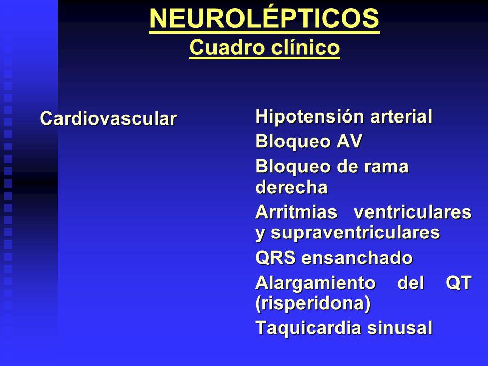 NEUROLÉPTICOS Cuadro clínicoCardiovascular Hipotensión arterial Bloqueo AV Bloqueo de rama derecha Arritmias ventriculares y supraventriculares QRS en