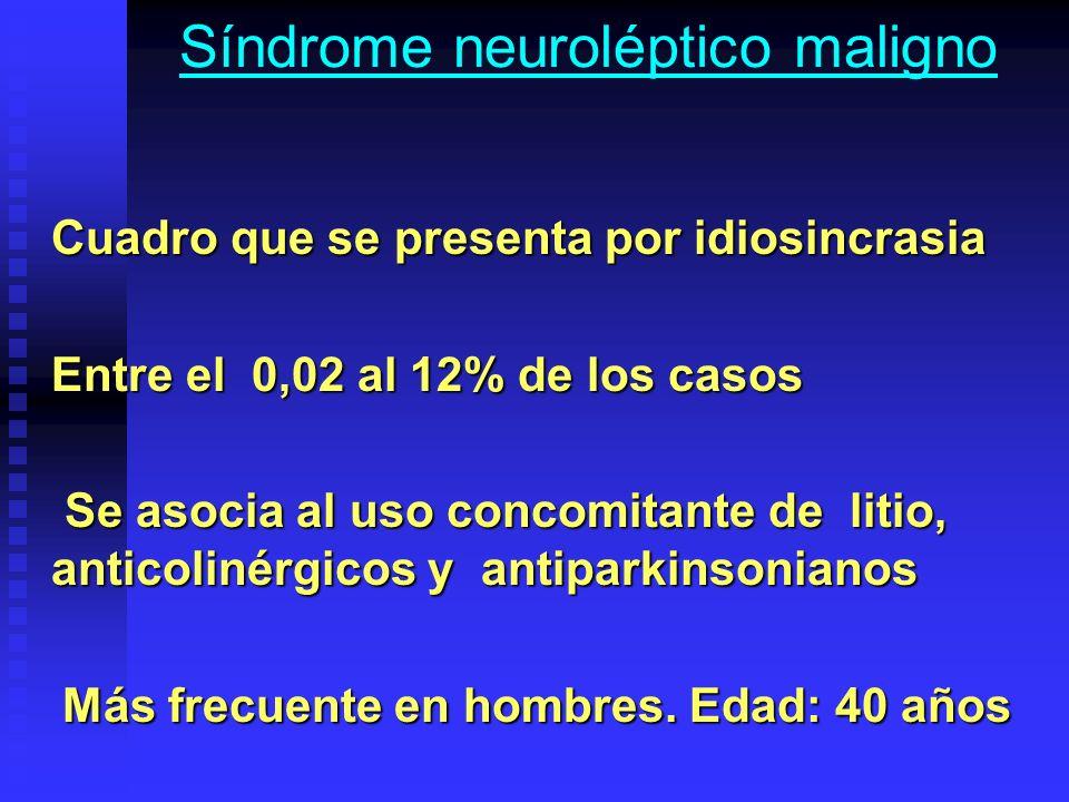 Síndrome neuroléptico maligno Cuadro que se presenta por idiosincrasia Entre el 0,02 al 12% de los casos Se asocia al uso concomitante de litio, antic