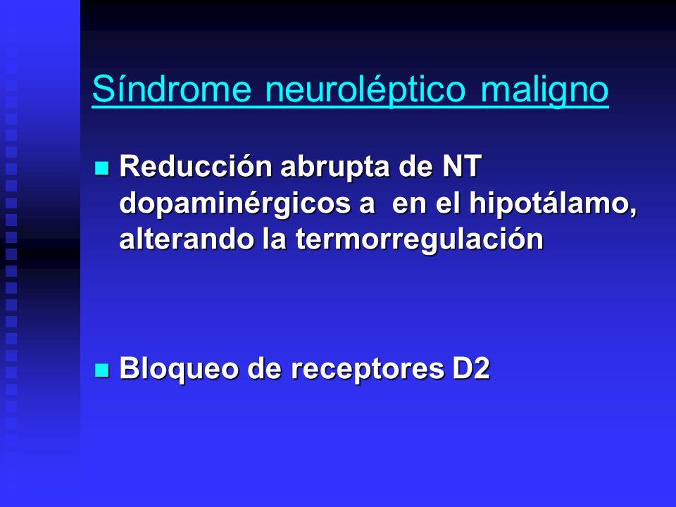 Síndrome neuroléptico maligno Reducción abrupta de NT dopaminérgicos a en el hipotálamo, alterando la termorregulación Reducción abrupta de NT dopamin