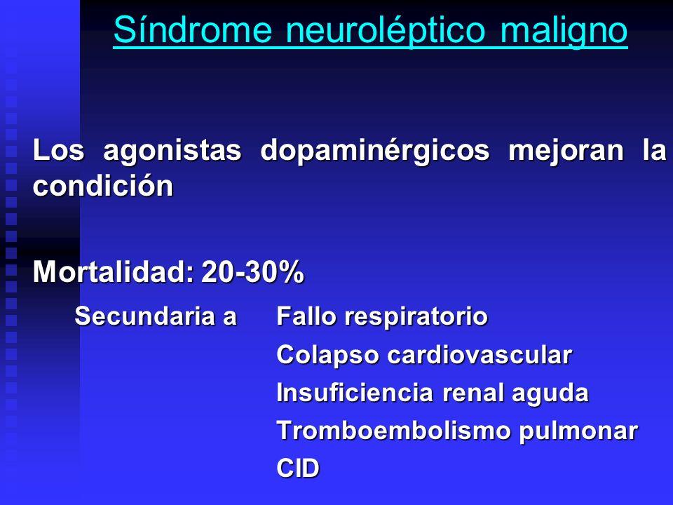 Síndrome neuroléptico maligno Los agonistas dopaminérgicos mejoran la condición Mortalidad: 20-30% Secundaria a Fallo respiratorio Colapso cardiovascu