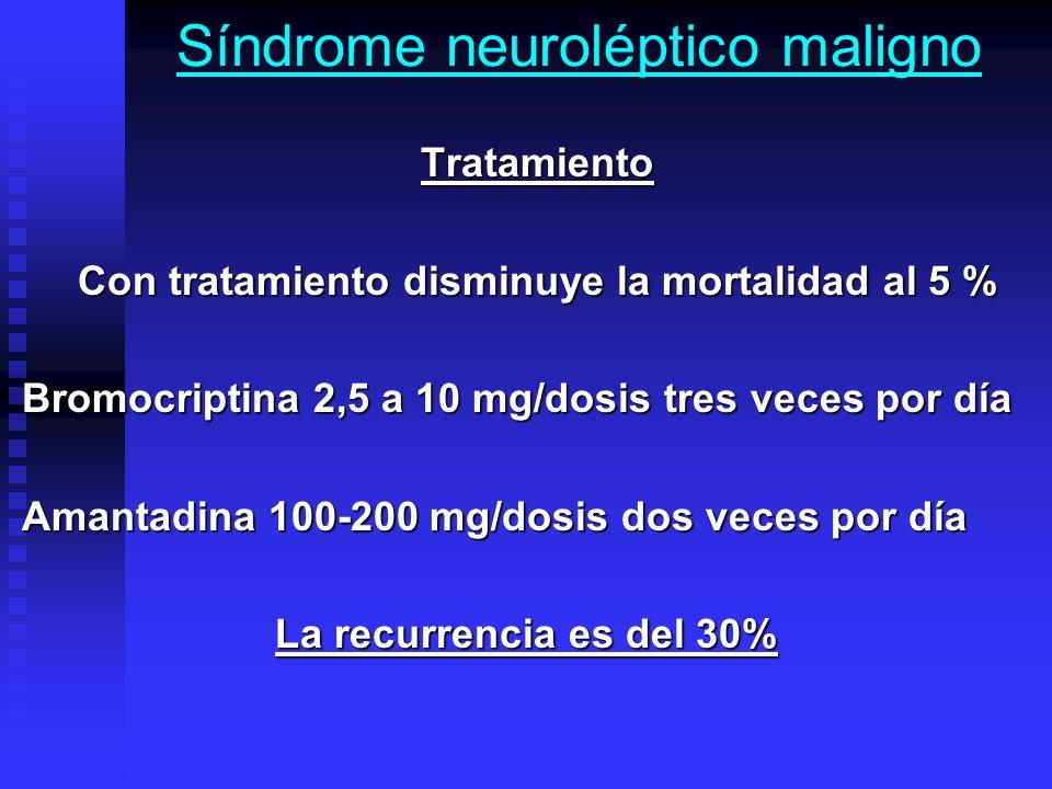 Síndrome neuroléptico maligno Tratamiento Tratamiento Con tratamiento disminuye la mortalidad al 5 % Con tratamiento disminuye la mortalidad al 5 % Br