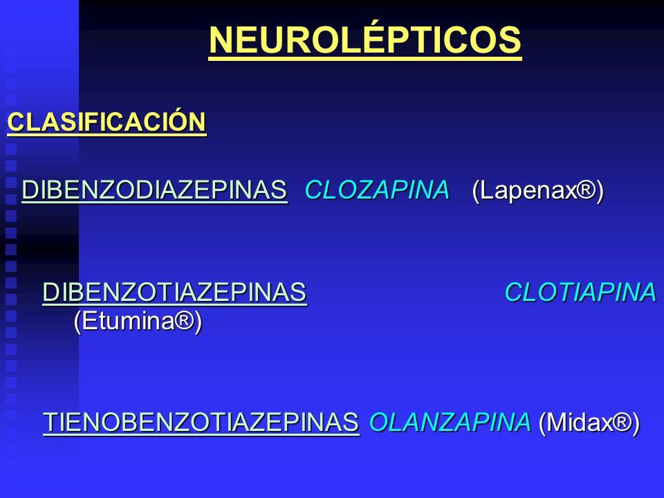 NEUROLÉPTICOSCLASIFICACIÓN DIBENZODIAZEPINAS CLOZAPINA(Lapenax®) DIBENZODIAZEPINAS CLOZAPINA(Lapenax®) DIBENZOTIAZEPINAS CLOTIAPINA (Etumina®) DIBENZO