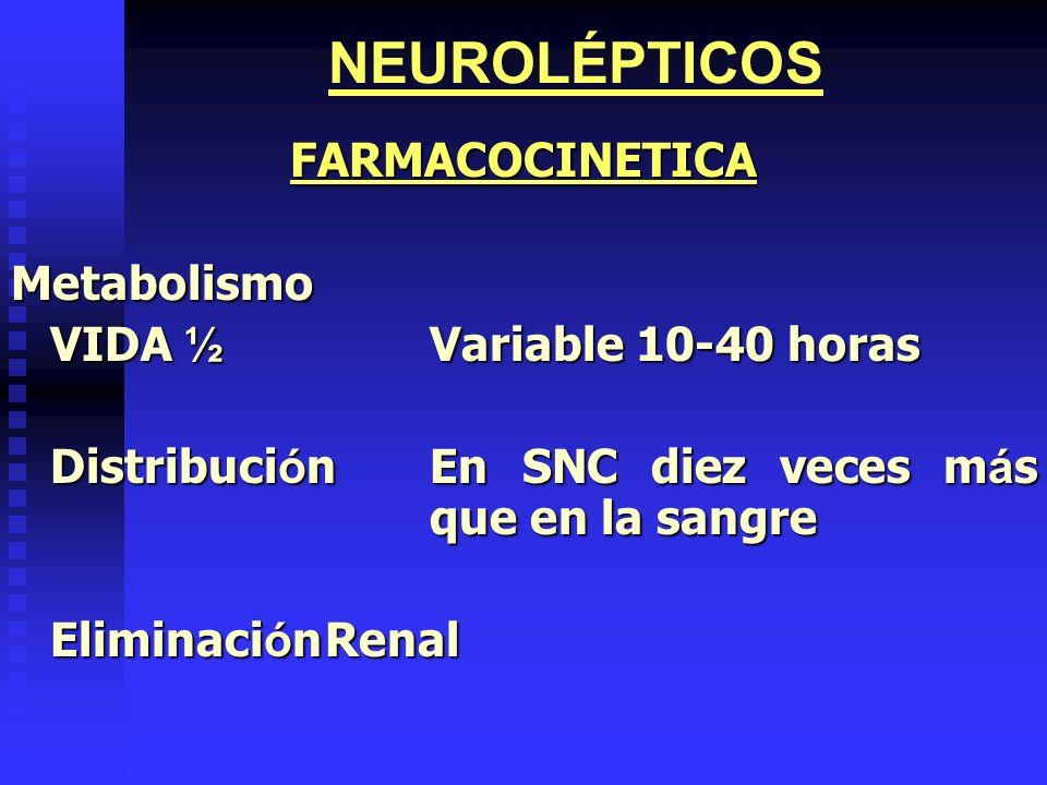NEUROLÉPTICOSFARMACOCINETICA Metabolismo VIDA ½ Variable 10-40 horas Distribuci ó nEn SNC diez veces m á s que en la sangre Eliminaci ó nRenal