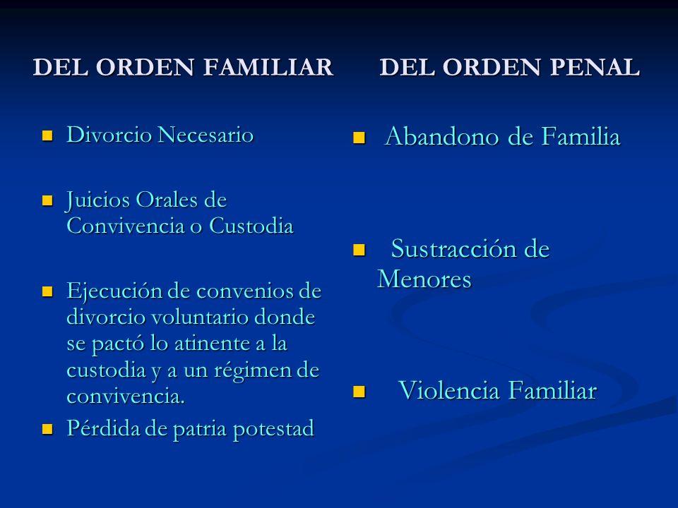 DEL ORDEN FAMILIAR DEL ORDEN PENAL Divorcio Necesario Divorcio Necesario Juicios Orales de Convivencia o Custodia Juicios Orales de Convivencia o Cust