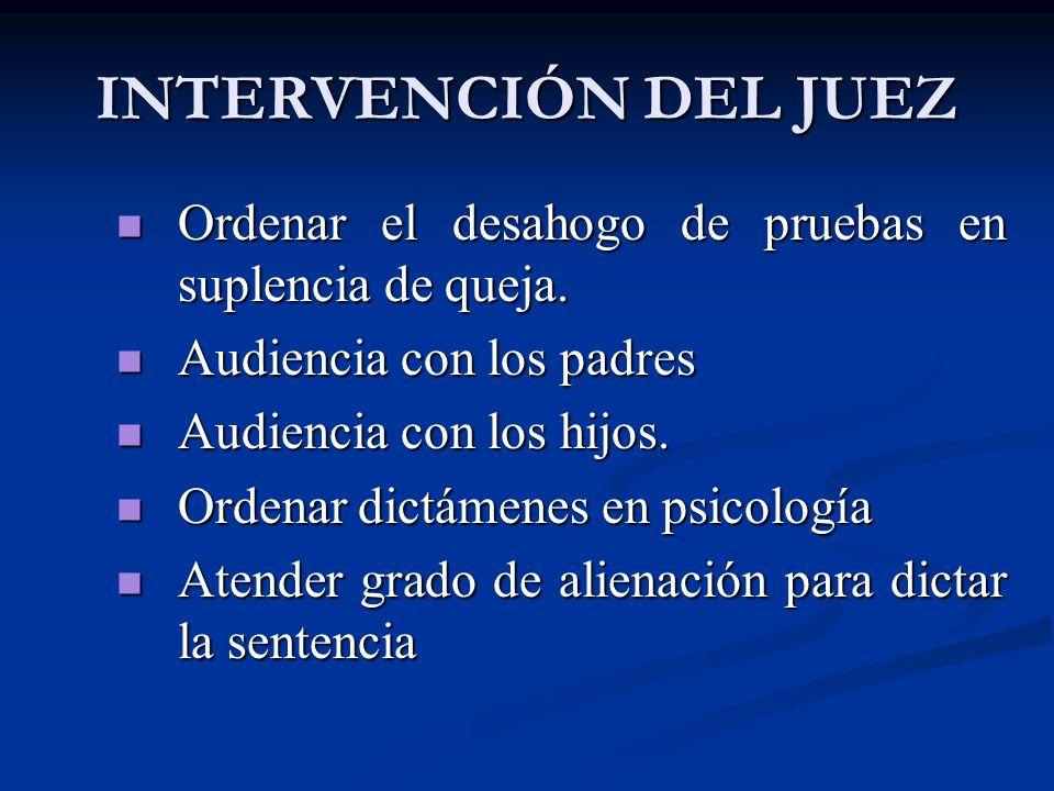 INTERVENCIÓN DEL JUEZ Ordenar el desahogo de pruebas en suplencia de queja. Ordenar el desahogo de pruebas en suplencia de queja. Audiencia con los pa