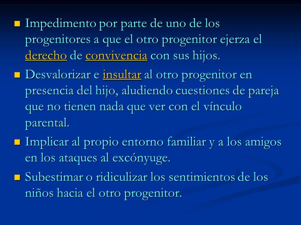 Incentivar o premiar la conducta despectiva y de rechazo hacia el otro progenitor.