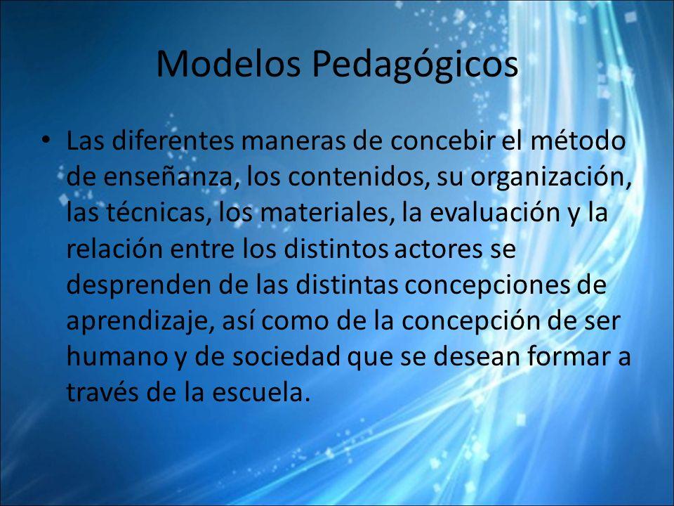 Modelos Pedagógicos Las diferentes maneras de concebir el método de enseñanza, los contenidos, su organización, las técnicas, los materiales, la evaluación y la relación entre los distintos actores se desprenden de las distintas concepciones de aprendizaje, así como de la concepción de ser humano y de sociedad que se desean formar a través de la escuela.