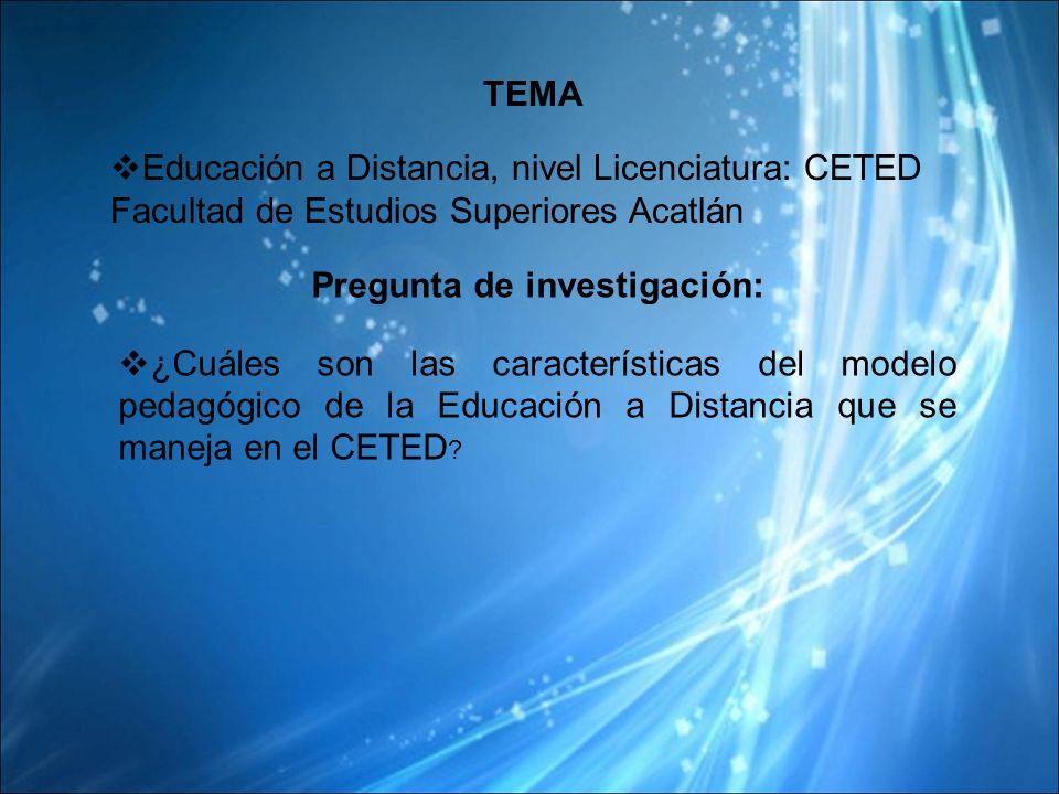 TEMA Educación a Distancia, nivel Licenciatura: CETED Facultad de Estudios Superiores Acatlán Pregunta de investigación: ¿Cuáles son las características del modelo pedagógico de la Educación a Distancia que se maneja en el CETED ?