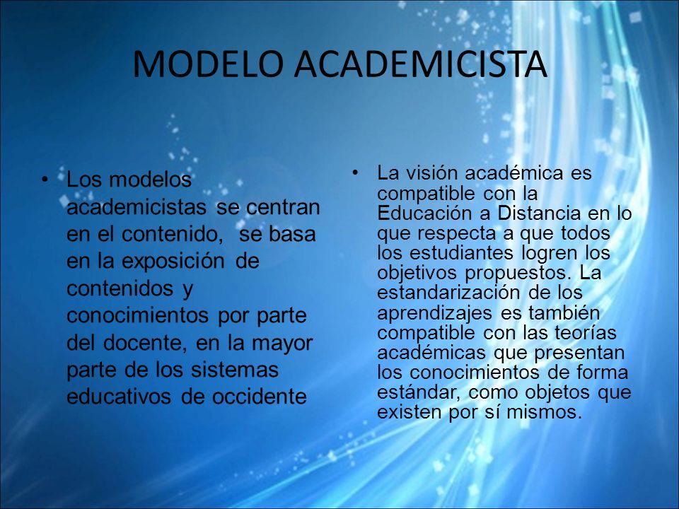 MODELO ACADEMICISTA Los modelos academicistas se centran en el contenido, se basa en la exposición de contenidos y conocimientos por parte del docente, en la mayor parte de los sistemas educativos de occidente La visión académica es compatible con la Educación a Distancia en lo que respecta a que todos los estudiantes logren los objetivos propuestos.