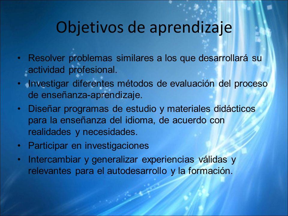 Objetivos de aprendizaje Resolver problemas similares a los que desarrollará su actividad profesional.