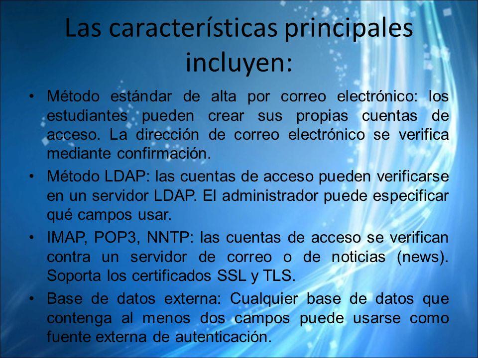 Las características principales incluyen: Método estándar de alta por correo electrónico: los estudiantes pueden crear sus propias cuentas de acceso.