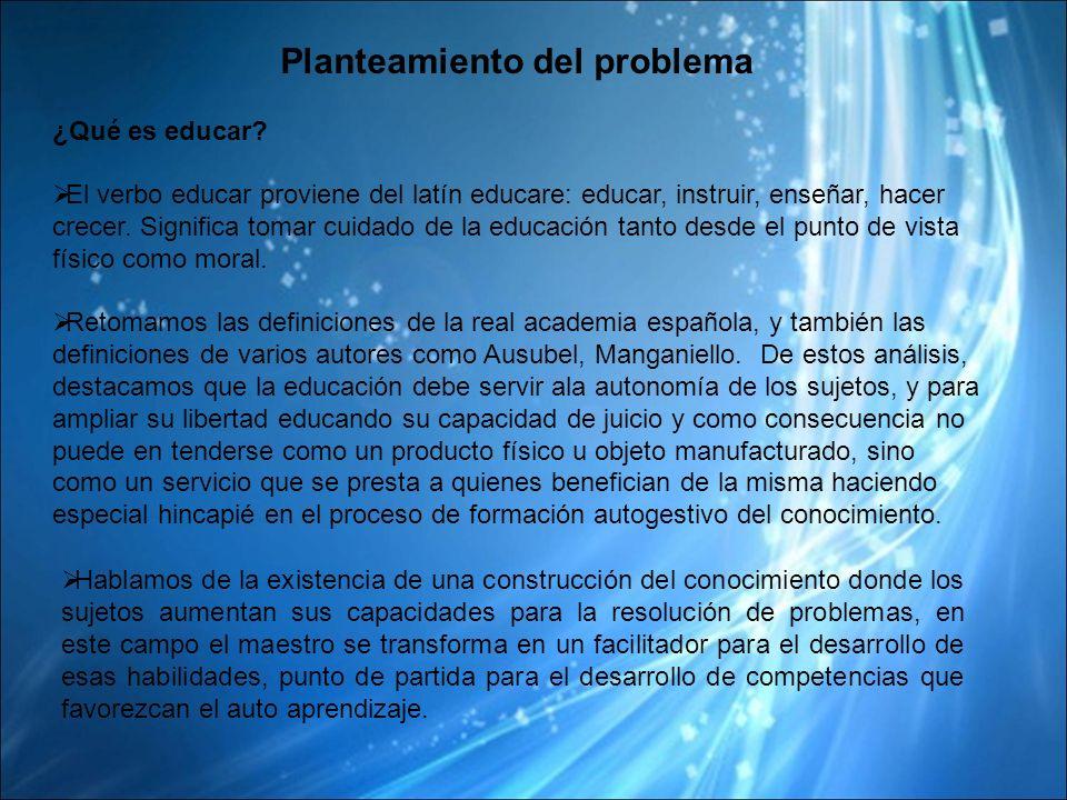 Planteamiento del problema ¿Qué es educar.