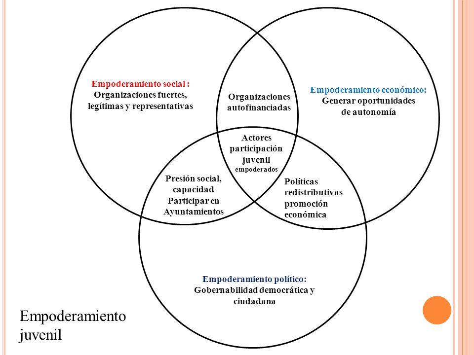 Empoderamiento social : Organizaciones fuertes, legítimas y representativas Empoderamiento político: Gobernabilidad democrática y ciudadana Empoderami