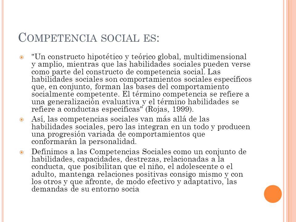 C OMPETENCIA SOCIAL ES :