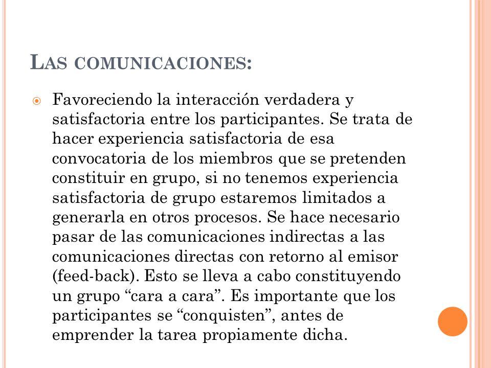 L AS COMUNICACIONES : Favoreciendo la interacción verdadera y satisfactoria entre los participantes. Se trata de hacer experiencia satisfactoria de es