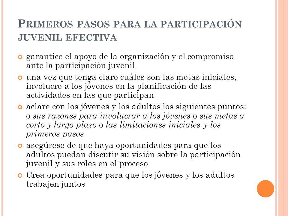 P RIMEROS PASOS PARA LA PARTICIPACIÓN JUVENIL EFECTIVA garantice el apoyo de la organización y el compromiso ante la participación juvenil una vez que