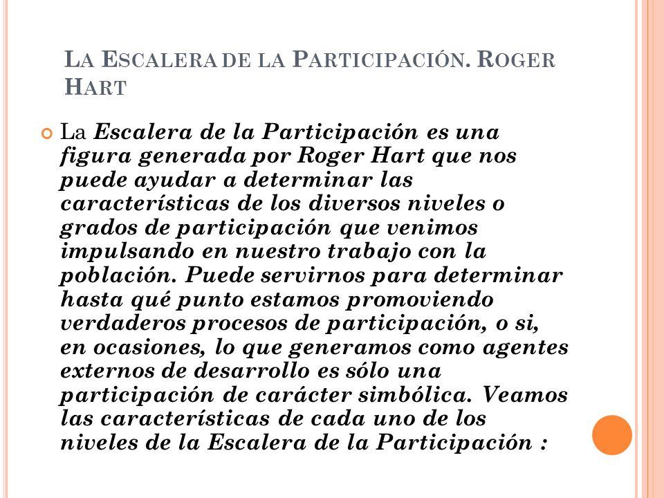 L A E SCALERA DE LA P ARTICIPACIÓN. R OGER H ART La Escalera de la Participación es una figura generada por Roger Hart que nos puede ayudar a determin