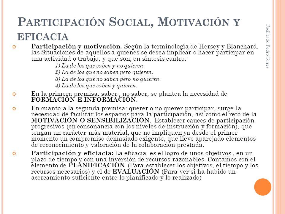 Facilitado Pedro Torres P ARTICIPACIÓN S OCIAL, M OTIVACIÓN Y EFICACIA Participación y motivación. Según la terminología de Hersey y Blanchard, las Si