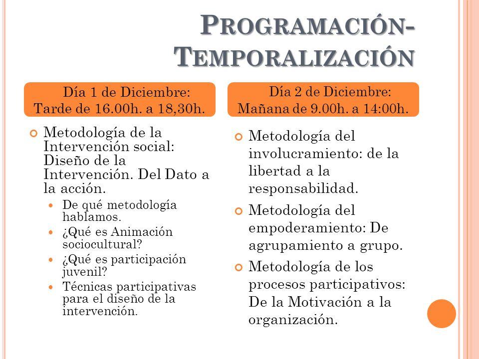 P ROGRAMACIÓN - T EMPORALIZACIÓN Metodología de la Intervención social: Diseño de la Intervención. Del Dato a la acción. De qué metodología hablamos.