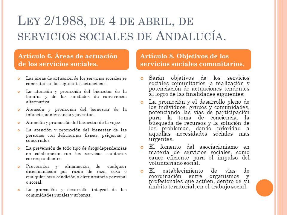 L EY 2/1988, DE 4 DE ABRIL, DE SERVICIOS SOCIALES DE A NDALUCÍA. Las áreas de actuación de los servicios sociales se concretan en las siguientes actua